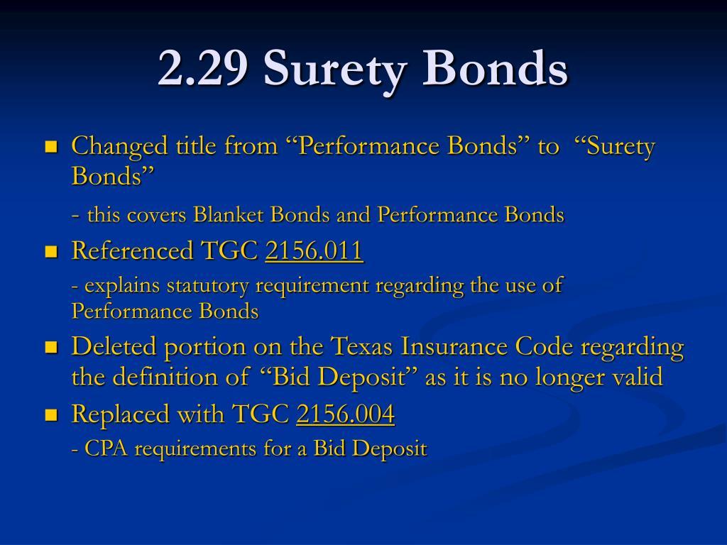 2.29 Surety Bonds