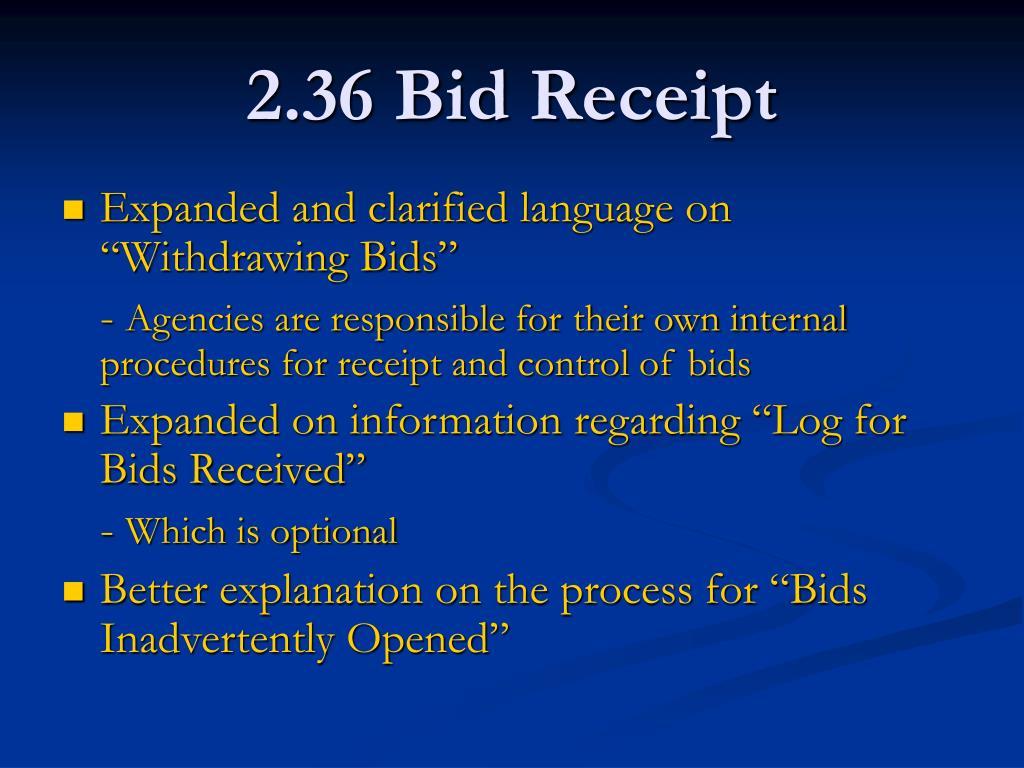 2.36 Bid Receipt