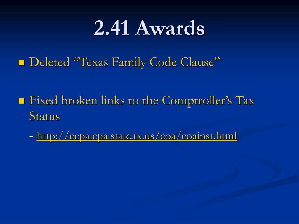 2.41 Awards