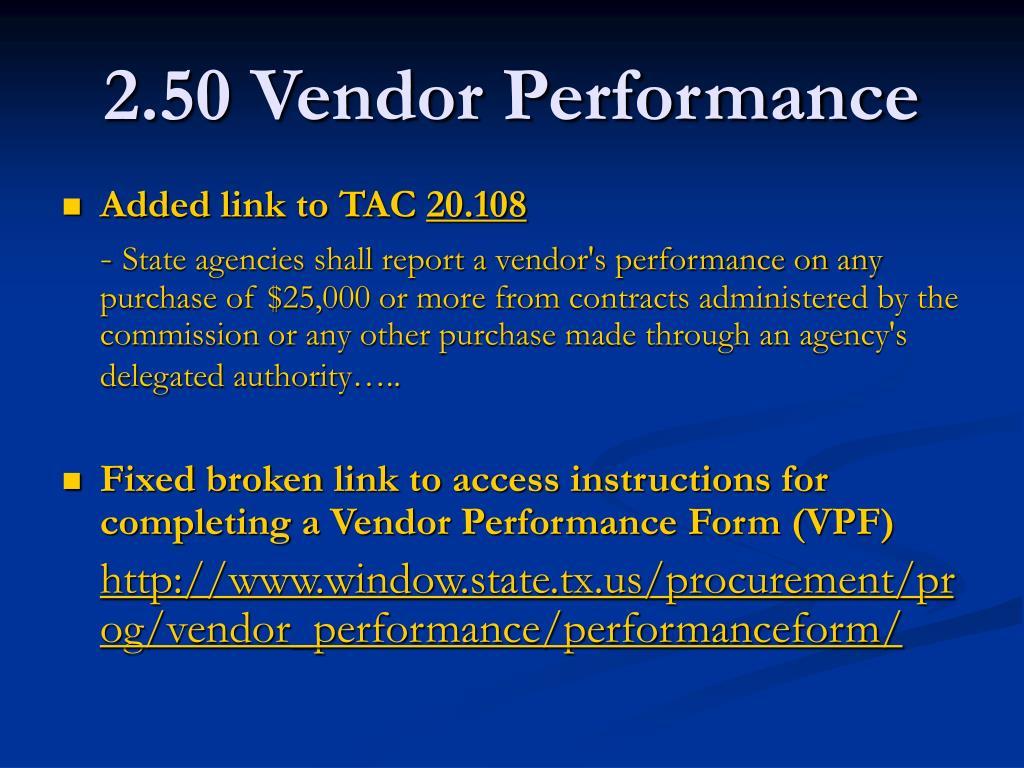 2.50 Vendor Performance