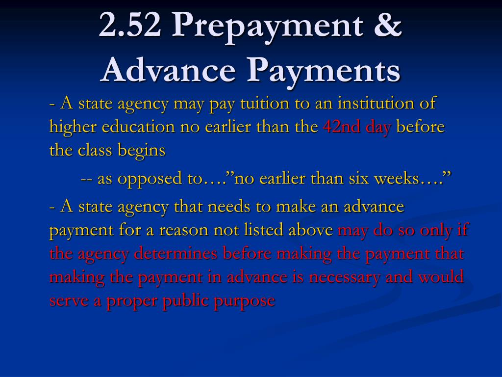 2.52 Prepayment & Advance Payments