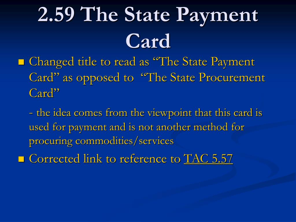 2.59 The State Payment Card