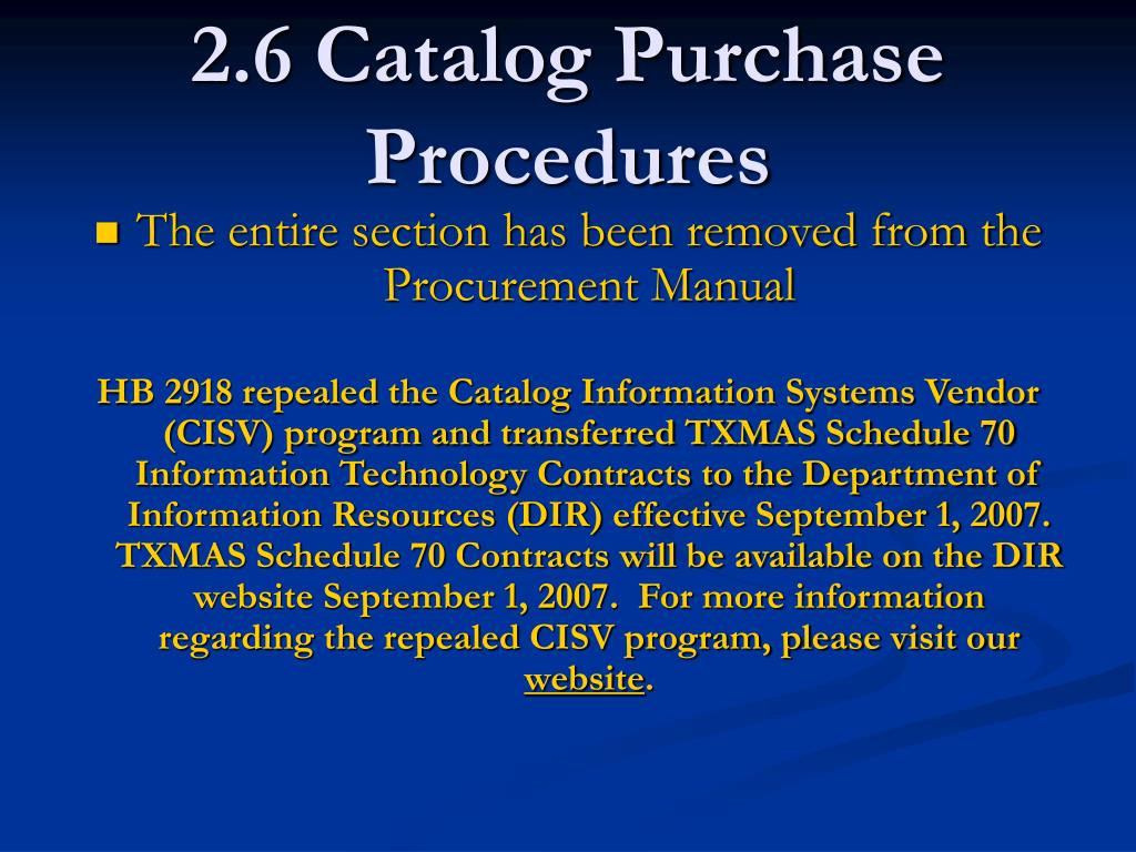 2.6 Catalog Purchase Procedures