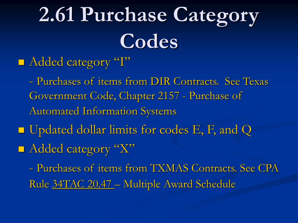 2.61 Purchase Category Codes