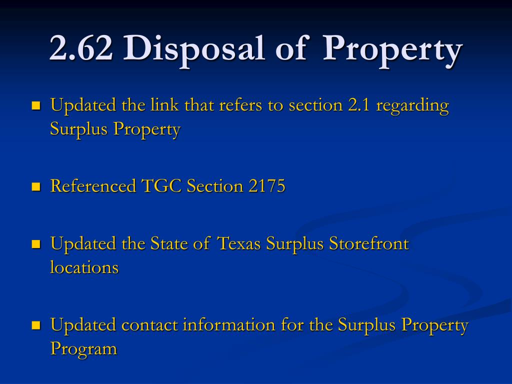 2.62 Disposal of Property