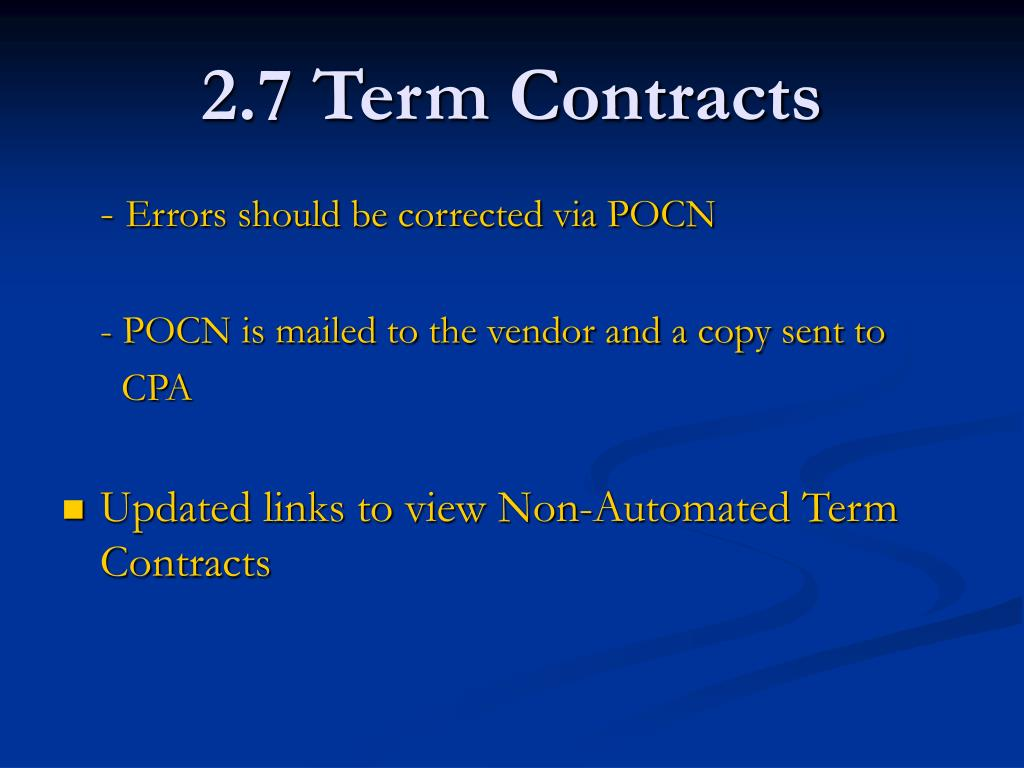 2.7 Term Contracts