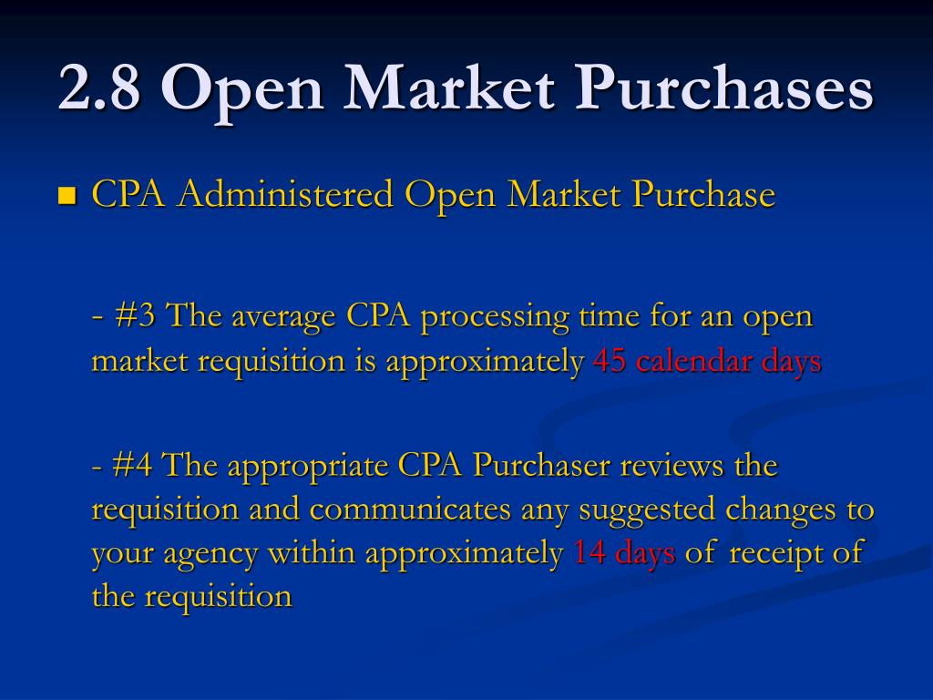 2.8 Open Market Purchases