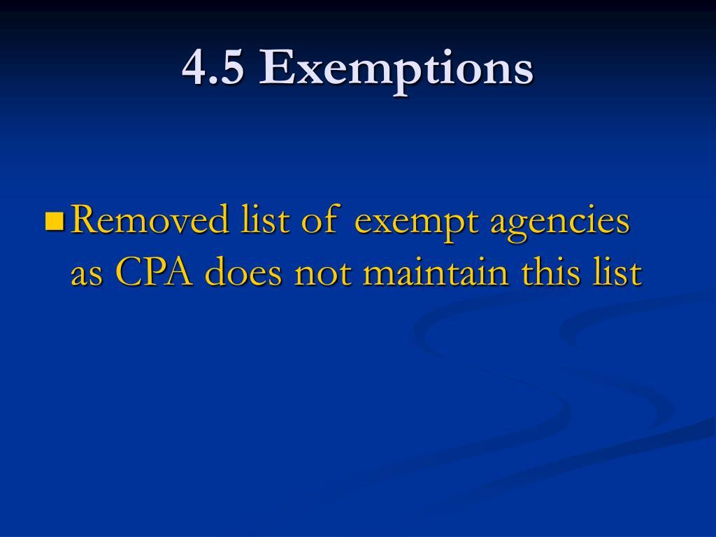 4.5 Exemptions