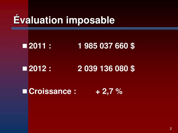 Valuation imposable