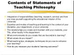 contents of statements of teaching philosophy