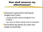 how shall measure my effectiveness
