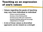 teaching as an expression of one s values