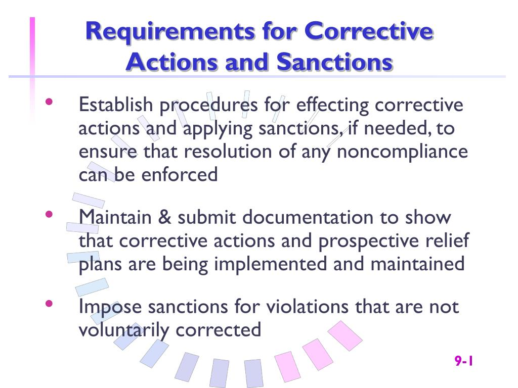 Requirements for Corrective Actions and Sanctions