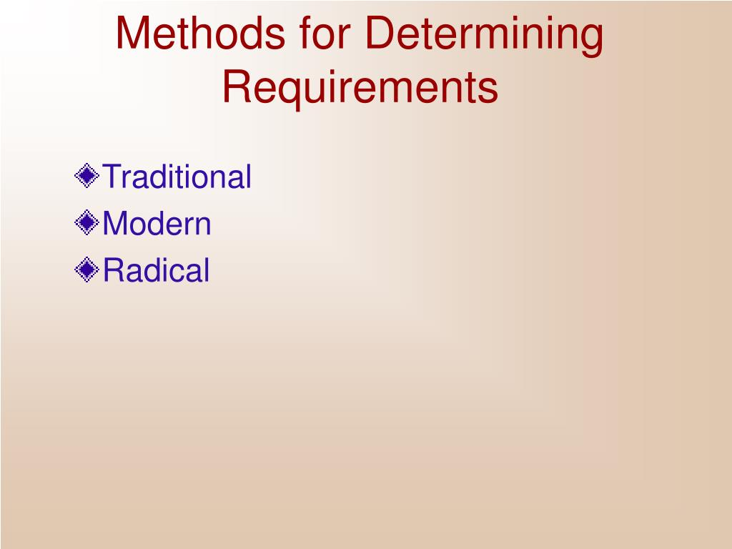 Methods for Determining Requirements