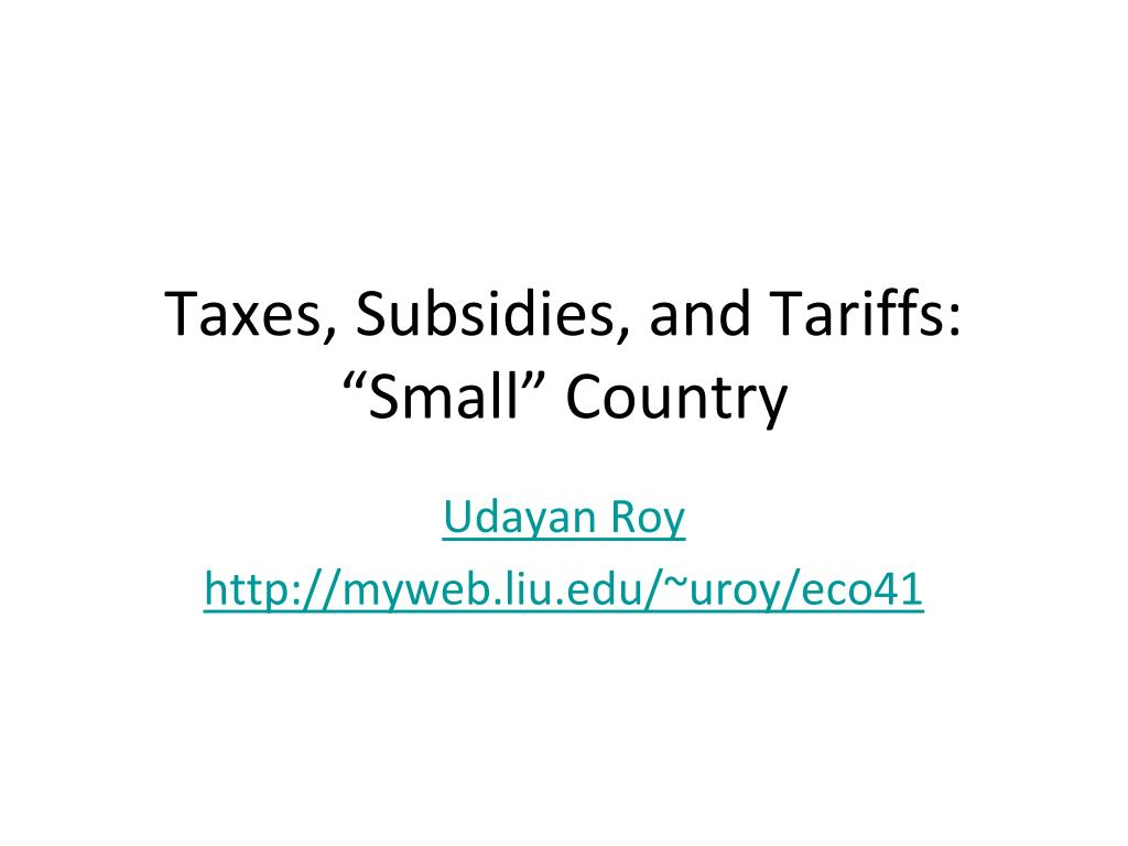 taxes subsidies and tariffs small country l.