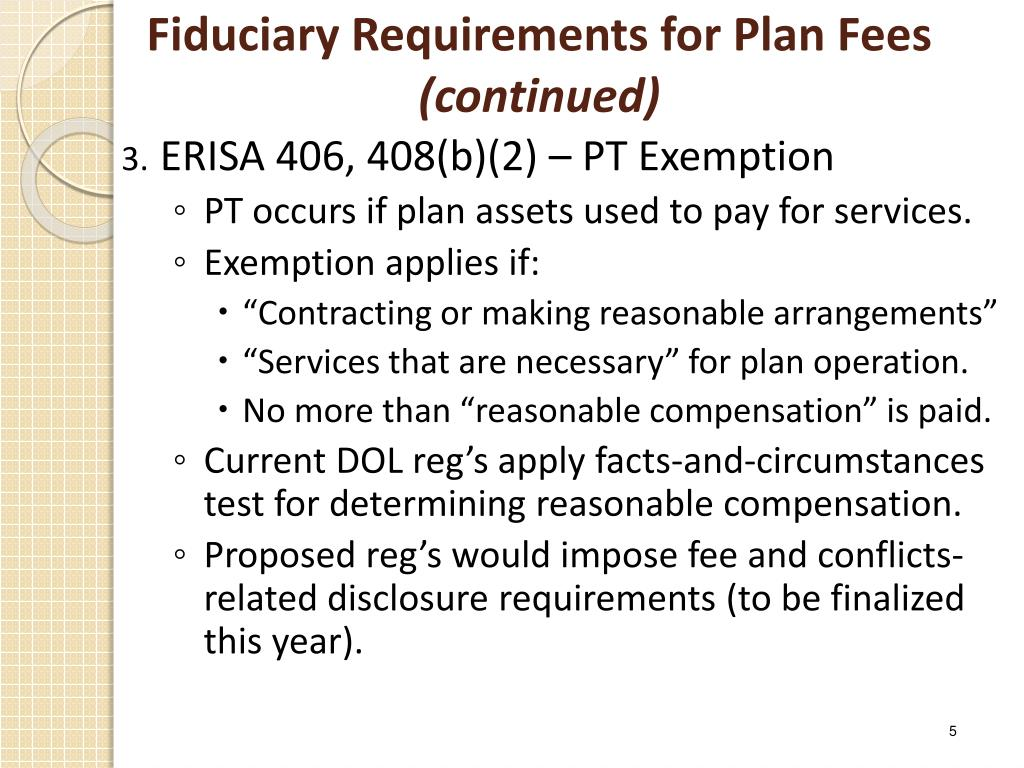 Fiduciary Requirements for Plan Fees
