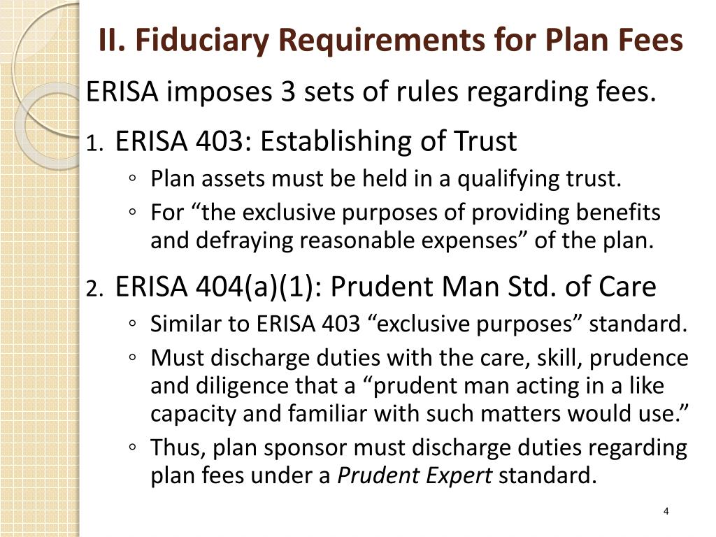 II. Fiduciary Requirements for Plan Fees