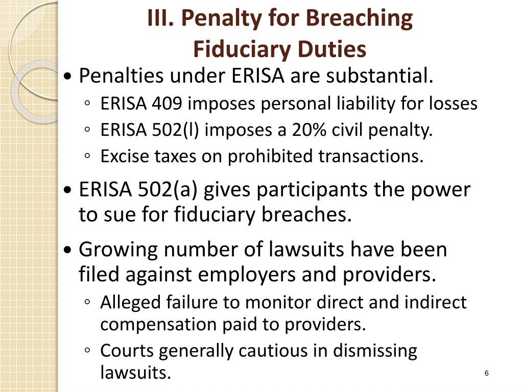 III. Penalty for Breaching