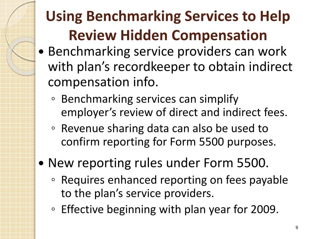 Using Benchmarking Services to Help Review Hidden Compensation