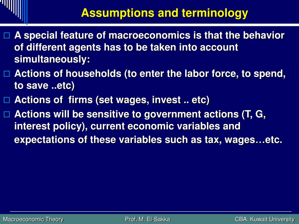 Assumptions and terminology