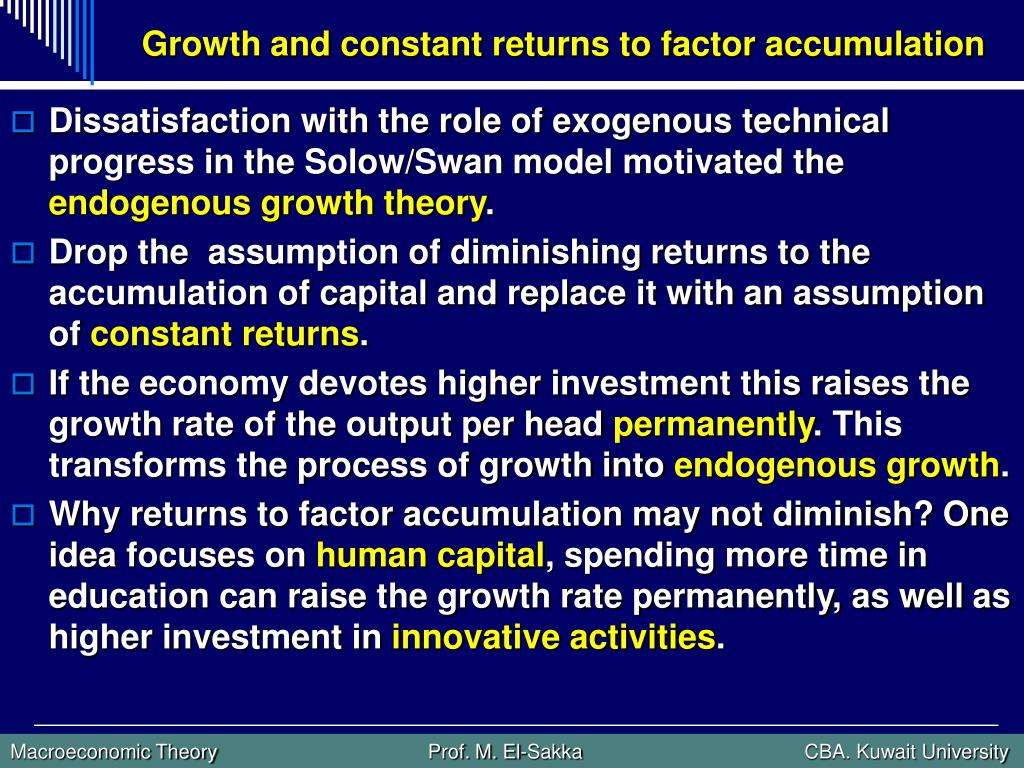 Growth and constant returns to factor accumulation