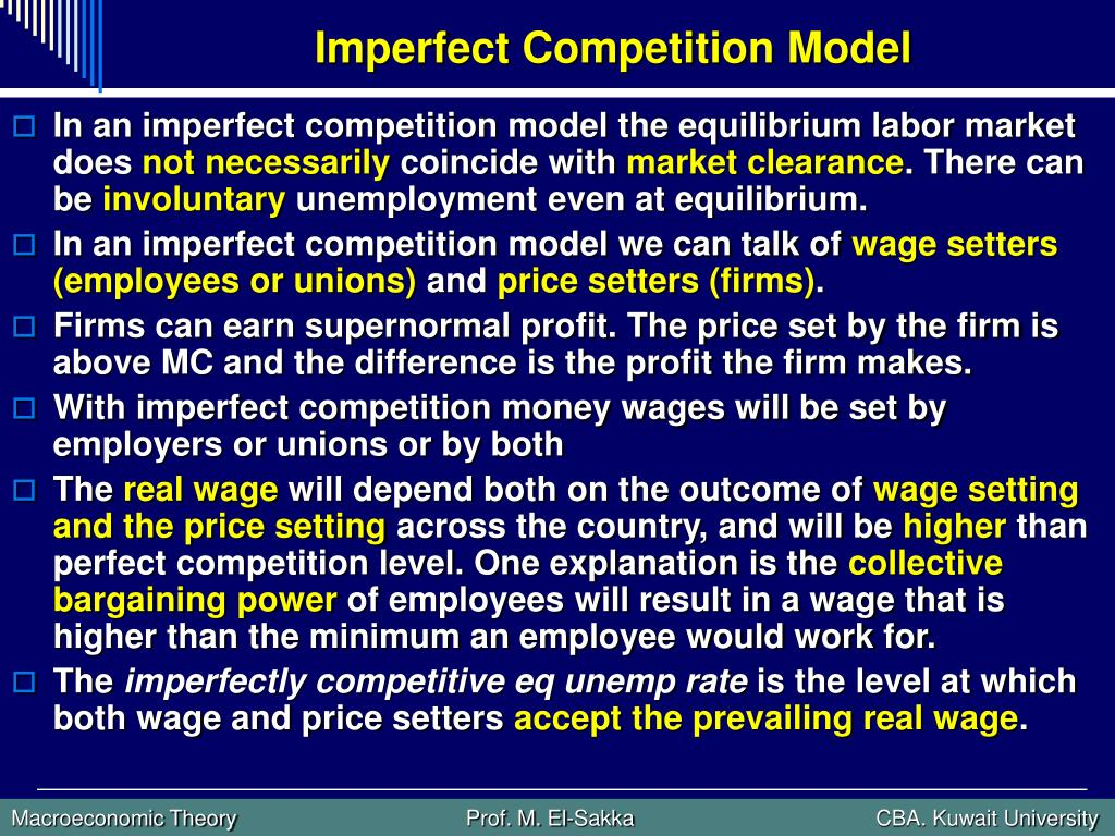 Imperfect Competition Model