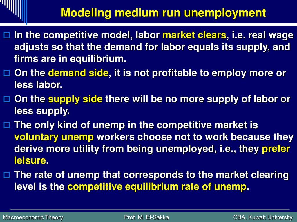 Modeling medium run unemployment