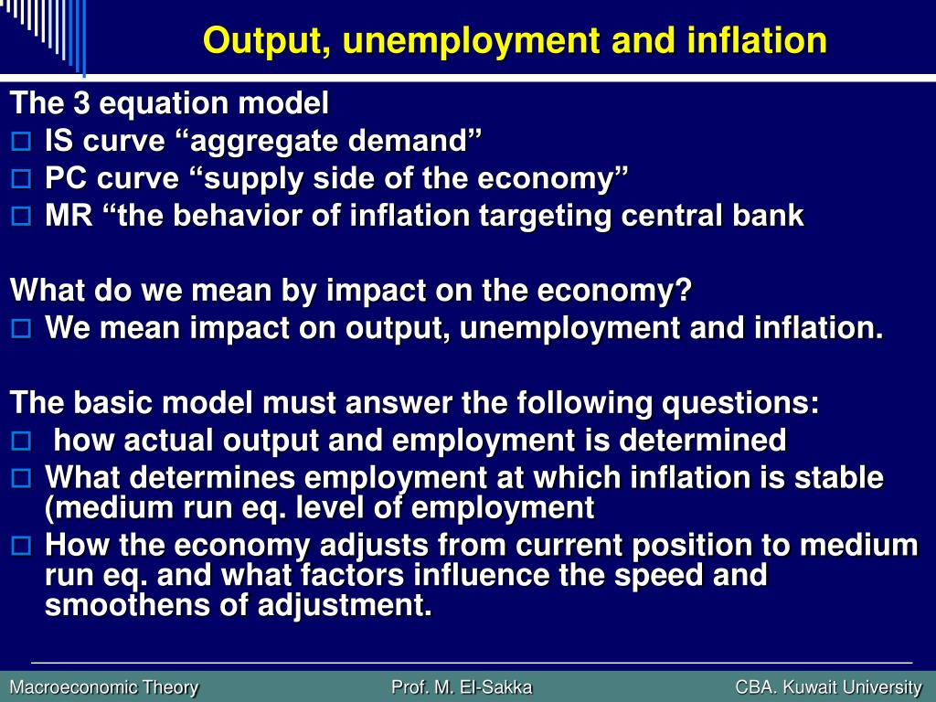 Output, unemployment and inflation