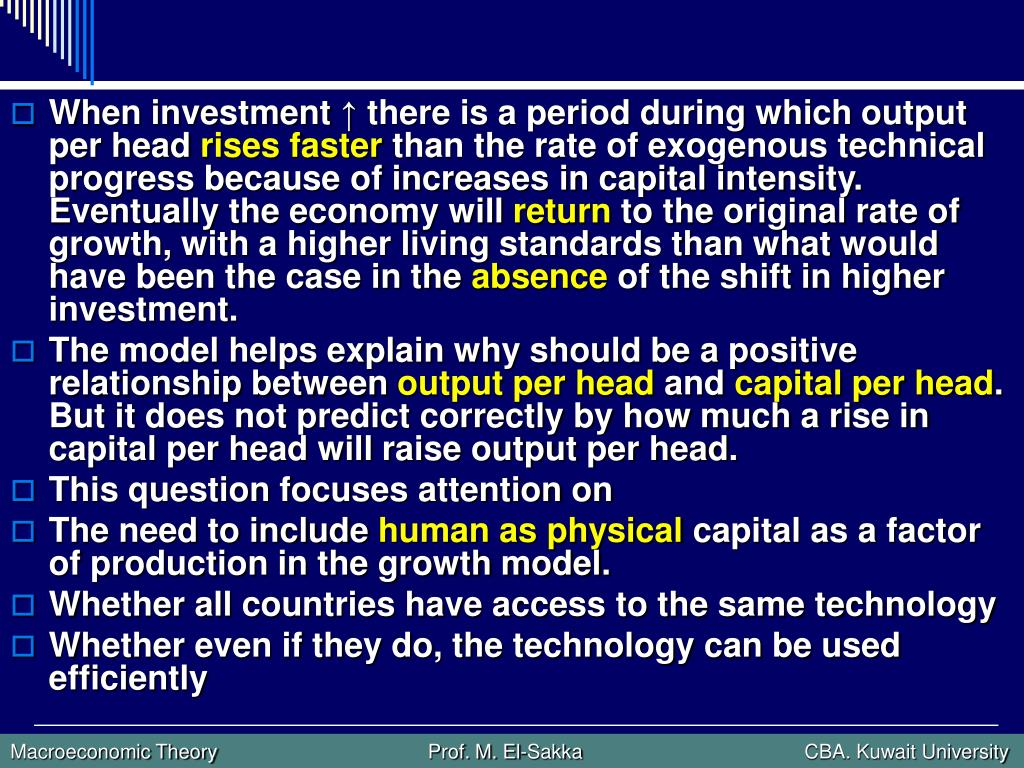 When investment ↑ there is a period during which output per head