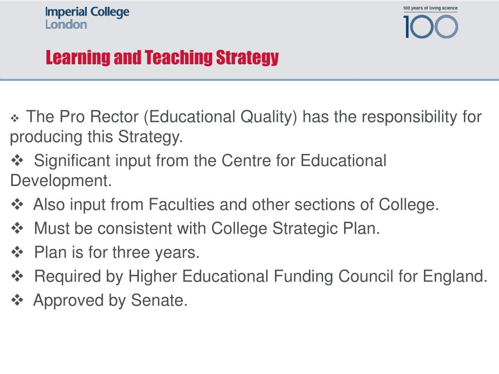 Learning and Teaching Strategy