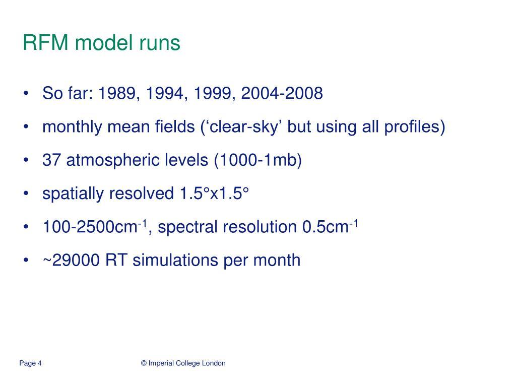 RFM model runs