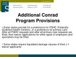additional conrad program provisions