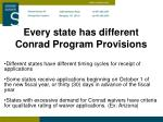every state has different conrad program provisions