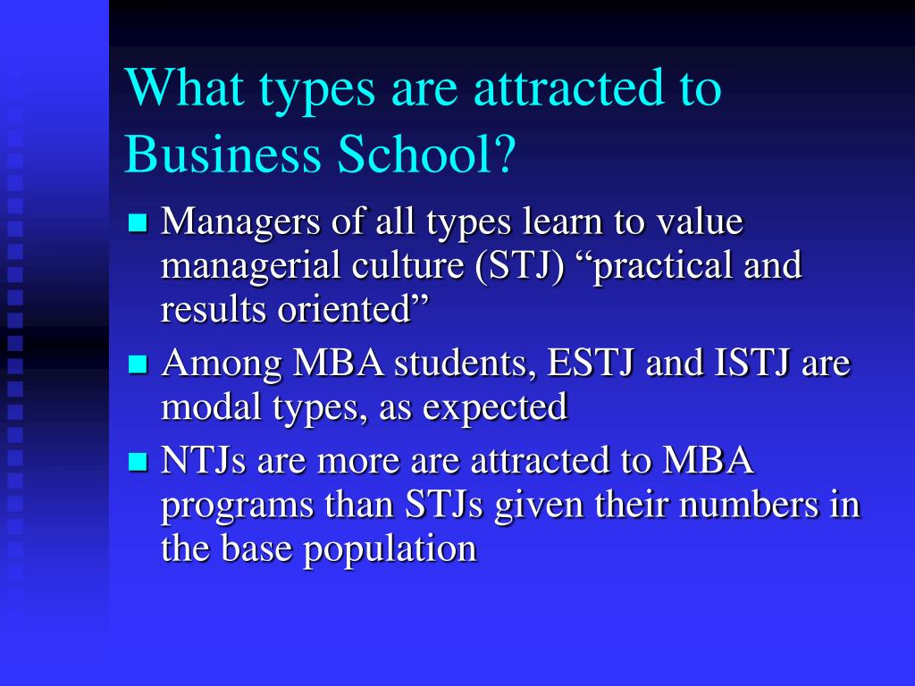 What types are attracted to Business School?