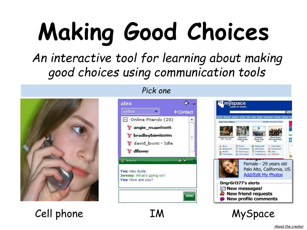 an interactive tool for learning about making good choices using communication tools l.