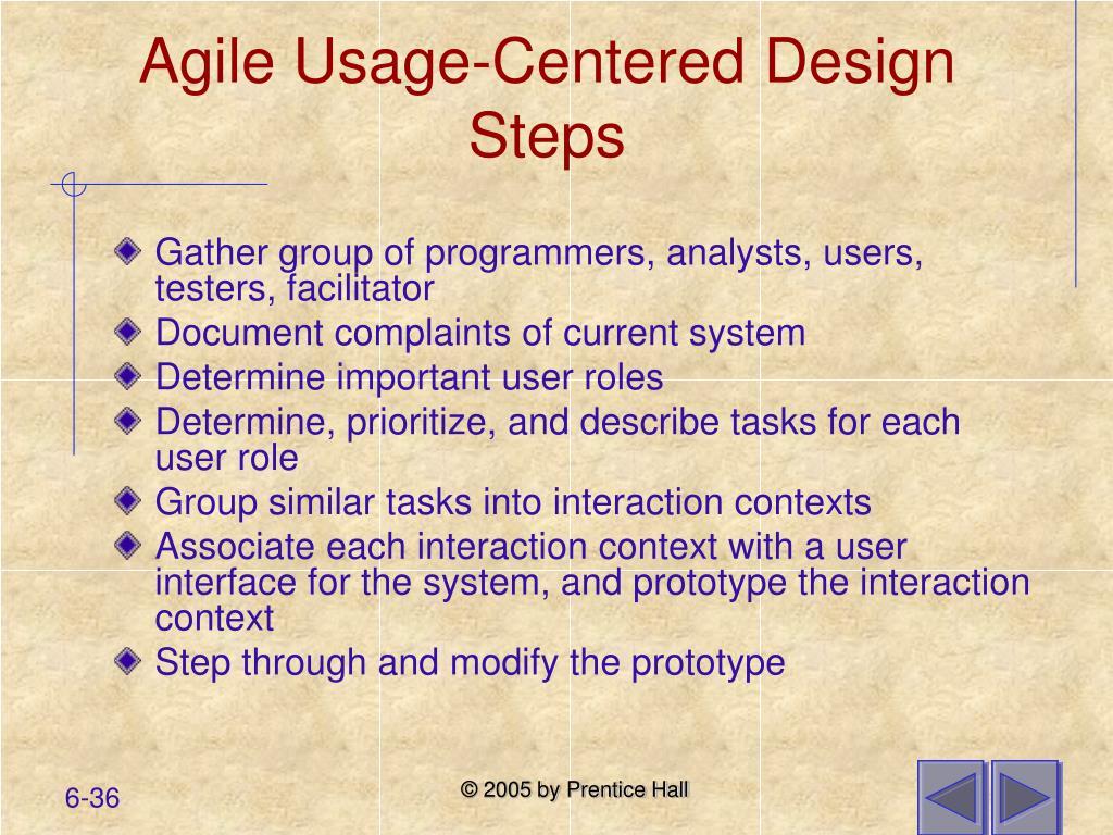 Agile Usage-Centered Design Steps