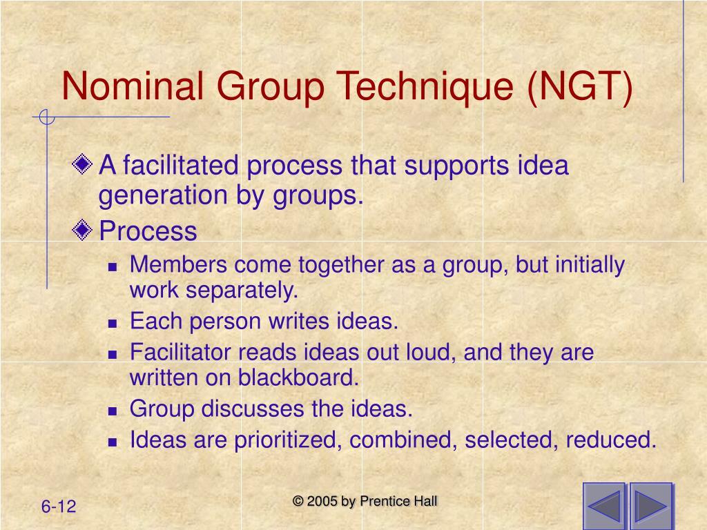 Nominal Group Technique (NGT)