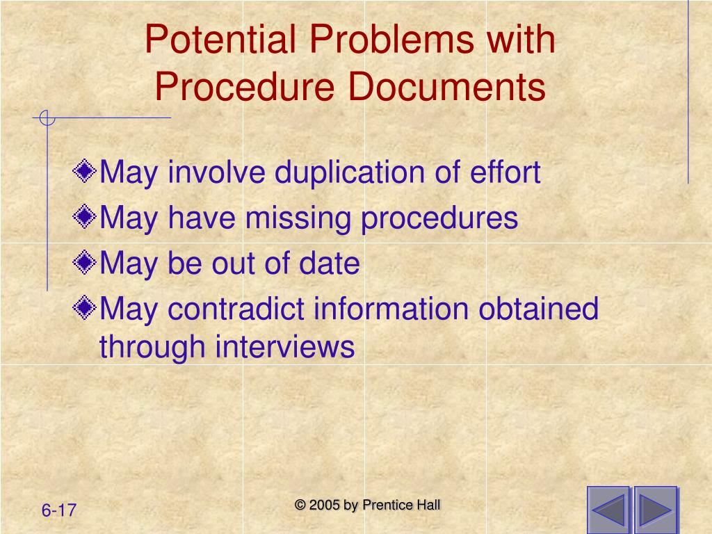 Potential Problems with Procedure Documents