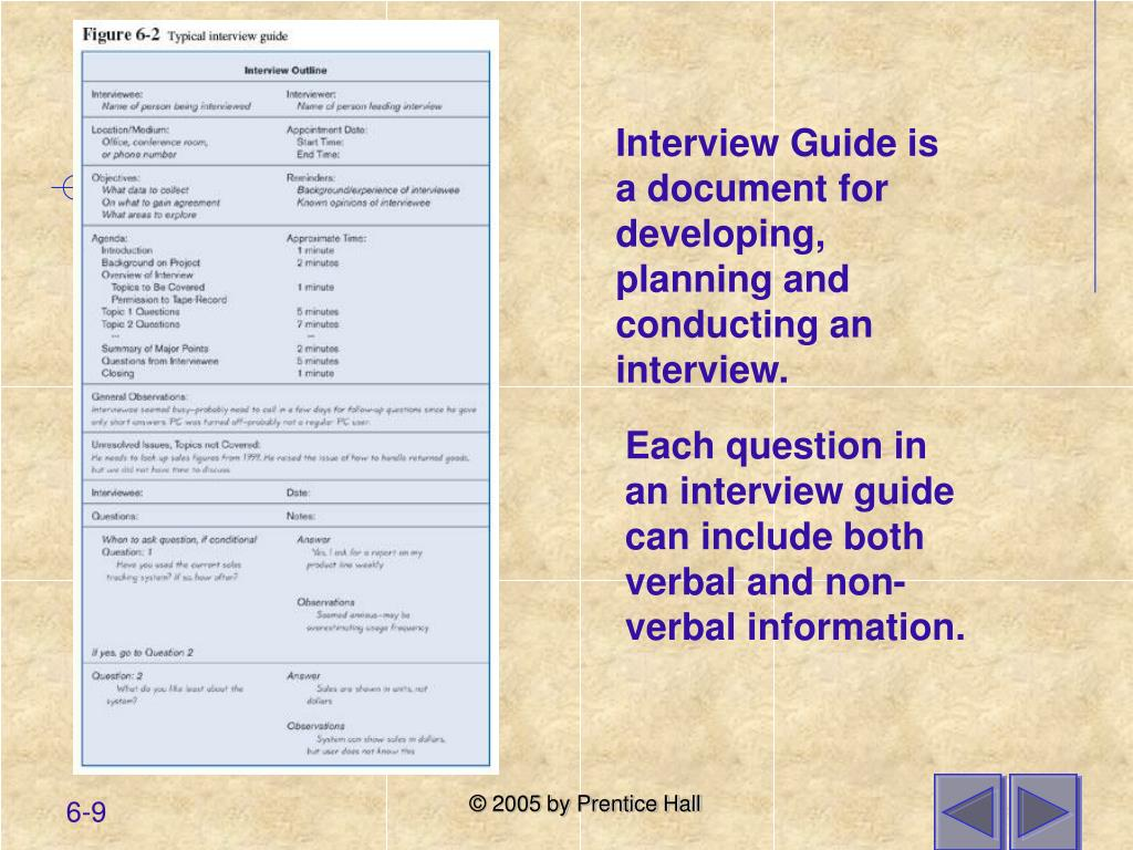 Interview Guide is a document for developing, planning and conducting an interview.