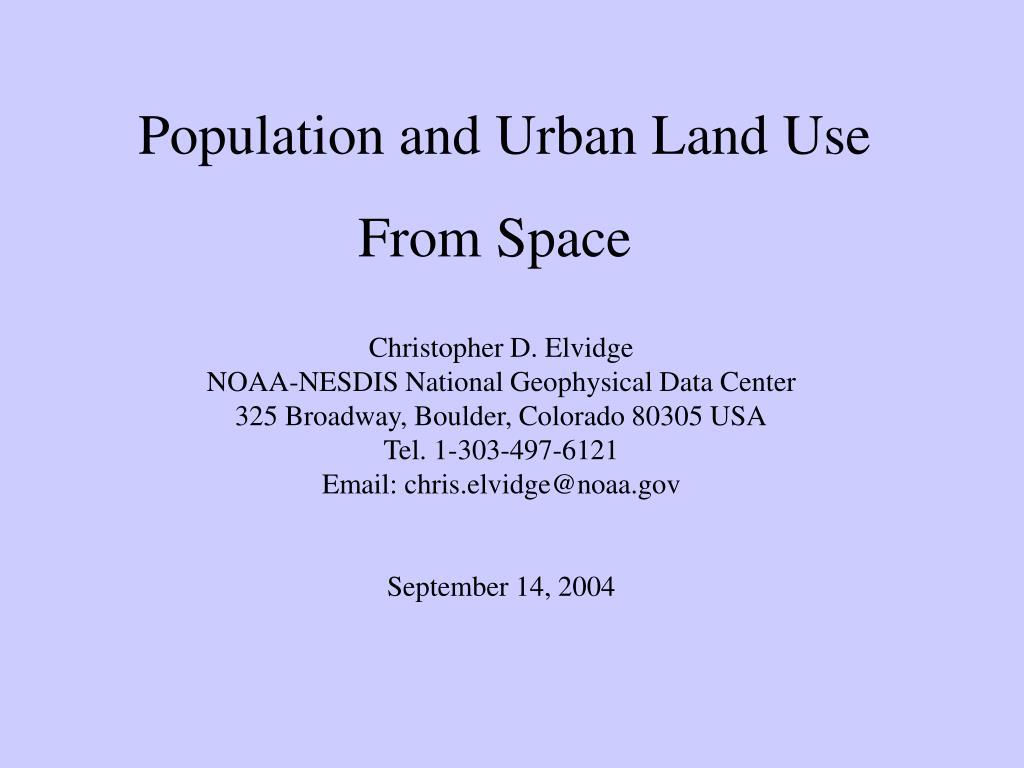 Population and Urban Land Use