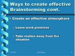 ways to create effective brainstorming cont11