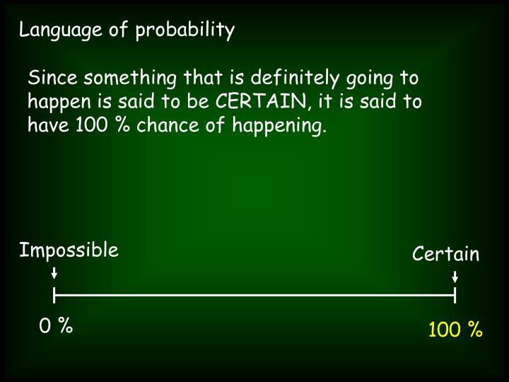 Language of probability