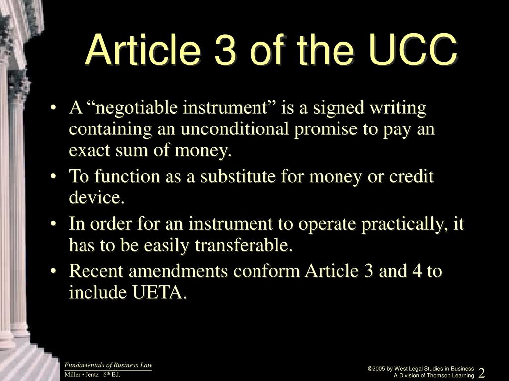 Article 3 of the UCC