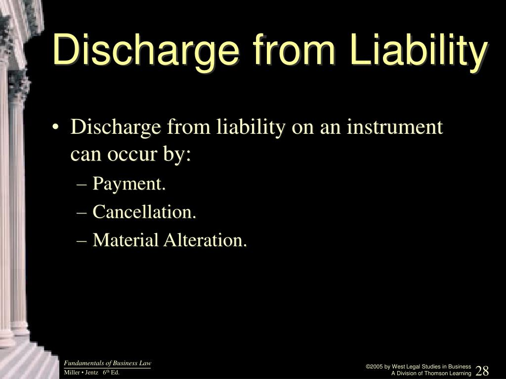 Discharge from Liability