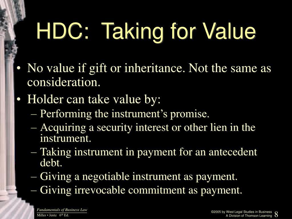 HDC:  Taking for Value