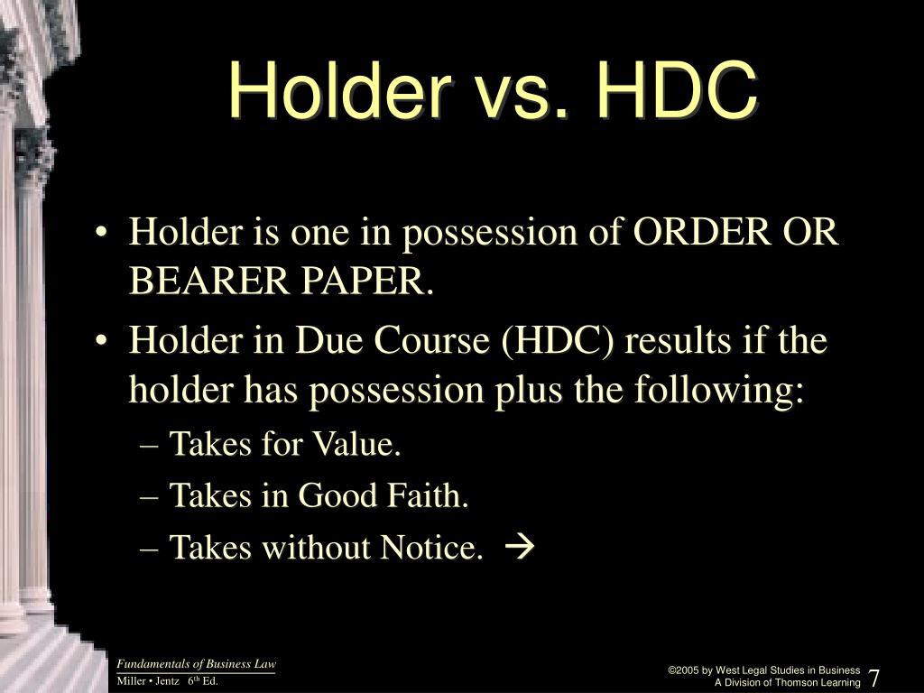 Holder vs. HDC