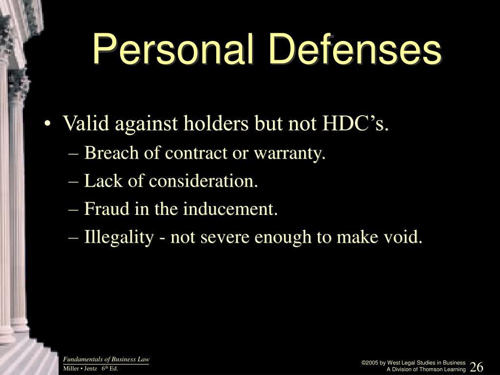 Personal Defenses