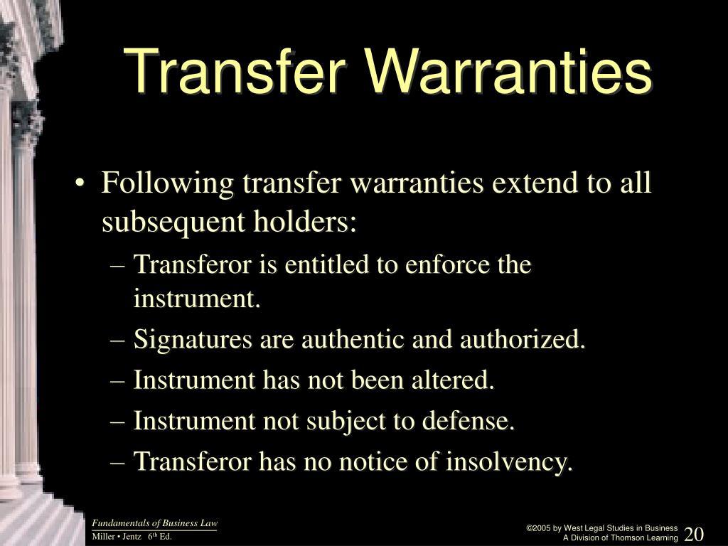 Transfer Warranties