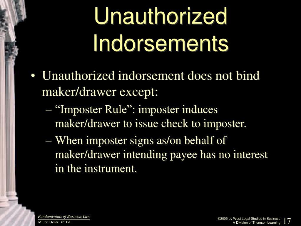 Unauthorized Indorsements