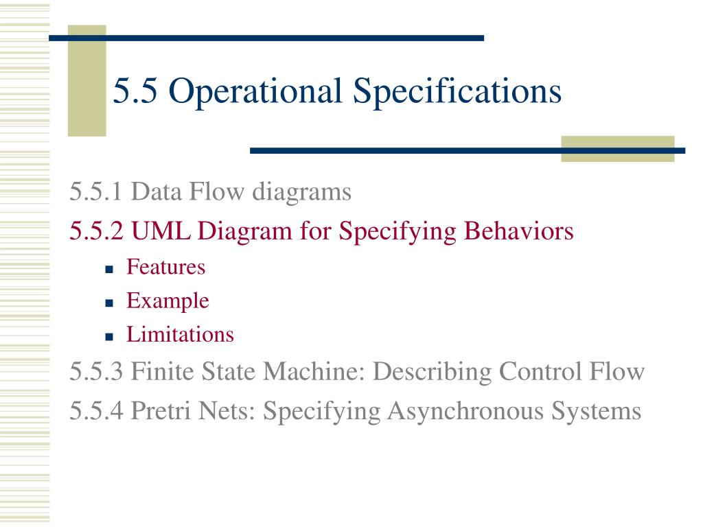 5.5 Operational Specifications